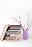 Öppna boken, färgrika böcker för inbunden bok på trätabellen, vit bakgrund tillbaka skola till Vaskopieringsutrymme för text Arkivbild