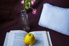 Öppna boken med äpplet och steg arkivfoto
