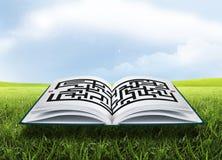 Öppna boken med labyrint Arkivbilder