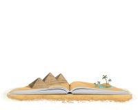 Öppna boken med pyramider och palmträd Royaltyfri Bild