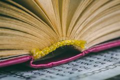 Öppna boken med sidor - litteratur och utbildning arkivbild