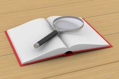 Öppna boken och förstoringsapparaten på vit bakgrund illustr 3d Royaltyfri Fotografi