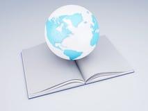 Öppna boken och jordklotet bakgrund books isolerad kunskapswhite för begrepp det fulla huvudet Arkivbild
