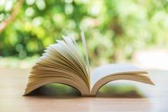 Öppna boken på wood plankor över abstrakt ljus bakgrund Royaltyfri Fotografi