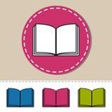 Öppna boken - redigerbara färgrika vektorsymboler - som isoleras på vit Arkivbilder
