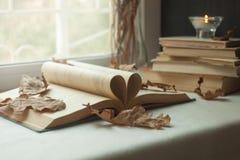 Öppna boksidor buktade in i hjärtasymbolet, passion för att läsa fönster i bakgrunden Bokhjärta Royaltyfri Fotografi