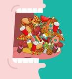 Öppna brett munlotten av mat Absorbering av matning Äta många av M Arkivfoto
