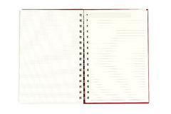 Öppna dagboken på vit bakgrund - med den snabba banan Royaltyfri Bild