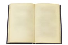 Öppna den gamla boken. Sida utan texten royaltyfria foton