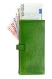 Öppna den gröna läderplånboken Arkivfoton
