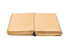 Öppna den isolerade gamla boken, tappningbok med befläckte sidor för mellanrumet guling Arkivbilder