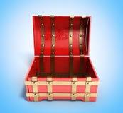 Öppna den röda bröstkorgen som tomma 3d framför på blå lutningbakgrund Fotografering för Bildbyråer