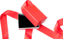 Öppna den röda gåvan boxas Arkivfoto