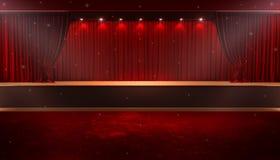 Öppna den röda gardinen royaltyfri illustrationer