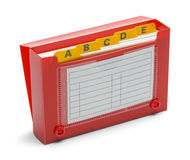 Öppna den röda indexkorthållaren Royaltyfri Fotografi