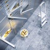 Öppna den säkra dörren för banken med guld inom 3d Arkivfoto