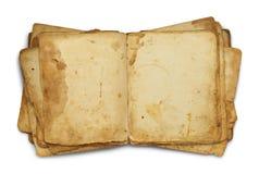 Öppna den smutsiga gamla boken Arkivbilder