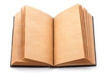 Öppna den spridda gamla boken med den tomma sidan Royaltyfri Foto