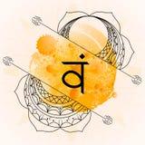 Öppna den Svadhisthana chakraen på orange vattenfärgbakgrund royaltyfri illustrationer