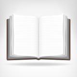 Öppna den tomma boken isolerat objekt Arkivbild