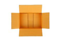 Öppna den tomma lådawellpappasken royaltyfria bilder