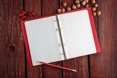 Öppna den tomma notepaden med en blyertspenna Fotografering för Bildbyråer