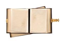 Öppna det antika albumet med tomma fotokort Royaltyfri Fotografi