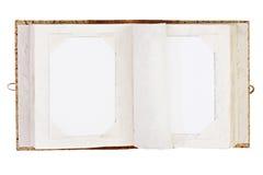 Öppna det gamla fotoalbumet med stället för dina isolerade foto på whit royaltyfri foto
