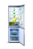 Öppna det gråa kylskåpet Kylfrys Arkivbild