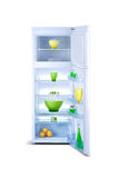 Öppna det vita kylskåpet Kylfrys Royaltyfri Bild