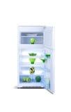 Öppna det vita kylskåpet Kylfrys Arkivbild