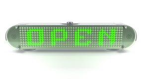 ÖPPNA - Digital Pin Sign med utsändande av LETT ljus Royaltyfri Bild