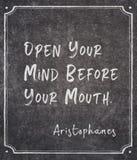 Öppna din mening Aristophanes royaltyfri foto