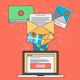Öppna emailen - Emailmarknadsföringsbegrepp Royaltyfri Illustrationer
