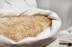 Öppna full kornmalt för påsen Arkivfoto