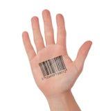 Öppna handen med barcoden Arkivbild