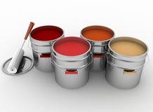 Öppna hinkar med en målarfärg och en rulle Fotografering för Bildbyråer