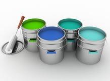 Öppna hinkar med en målarfärg och en rulle Arkivbild