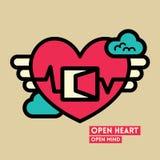 Öppna illustrationen för hjärta- och meningsfrihetsbegreppet Royaltyfri Foto