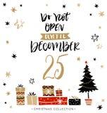 Öppna inte till December 25 kortjul som greeting royaltyfri illustrationer