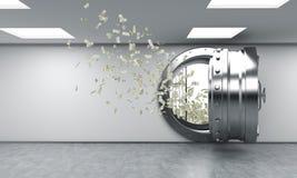Öppna kassaskåpet i bankförvaringsrummet, pengar som flyger ut från det Fotografering för Bildbyråer