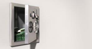 Öppna kassaskåpet på väggen med australiska dollar Arkivfoton