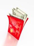 Öppna kortet och dollar Royaltyfria Bilder