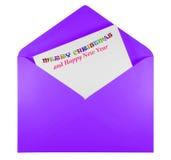 Öppna kuvertet med glad jul för text - violet Arkivbild