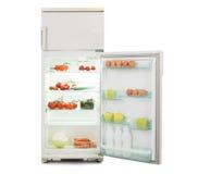 Öppna kylskåpet mycket av ny och sund mat Royaltyfria Bilder