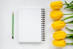 Öppna notepad, blyertspenna och gulingtulpan Fotografering för Bildbyråer