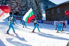 Öppna nytt skidar säsongen 2015-2016 i Bansko, Bulgarien Royaltyfri Bild