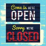 Öppna och stäng det wood målarfärgtecknet stock illustrationer