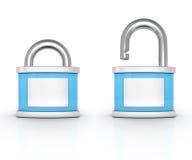 Öppna och stängda bluepadlocks på vit bakgrund royaltyfri illustrationer