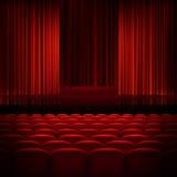 Öppna röda gardiner för teatern 10 eps Royaltyfria Foton